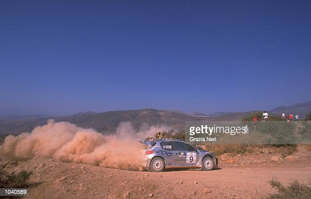 Francois Delecour of France in his Peugeot 206 during the Acropolis Rally in Greece Photo by Germano Gritti Mandatory Credit Grazia Neri /Allsport
