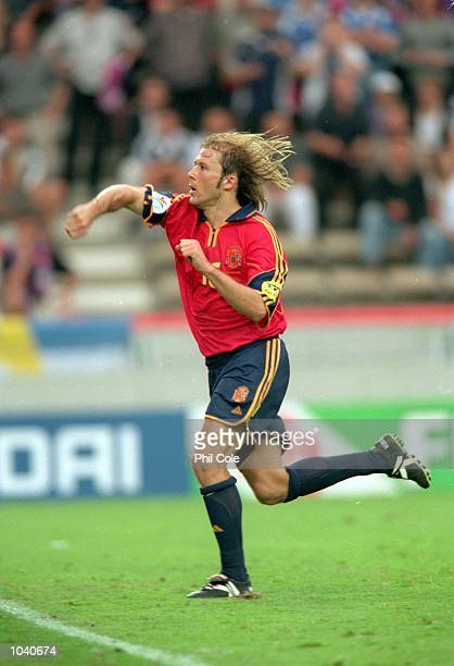 Gaizka Mendieta scores the third for Spain from a penalty during the European Championships 2000 match against Yugoslavia at the Jan Breydel Stadium...
