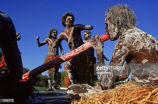 General view of Aboriginal dancers during day 22 of the 2000 Sydney Olympic Torch Relay at Yellow Water in Kakadu National ParkNorthern...