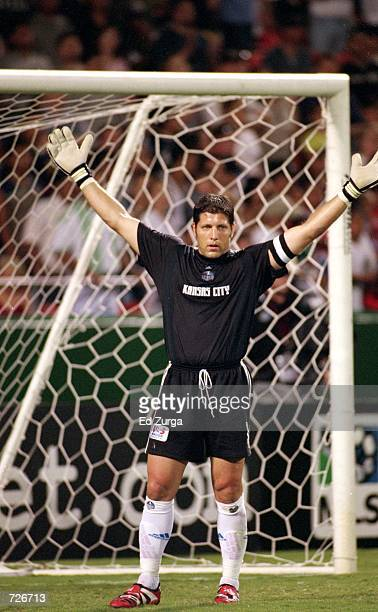 Goal Tender Tony Meola of the Kansas City Wizards holds up his arms during the game against the Los Angeles Galaxy at the Arrowhead Stadium in Kansas...
