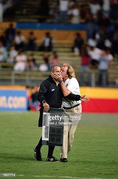 Head Coach Ray Hudson of the Miami Fusion kisses the referee during a game against the Chicago Fire at Lockhart Stadium in Fort Lauderdale Florida...