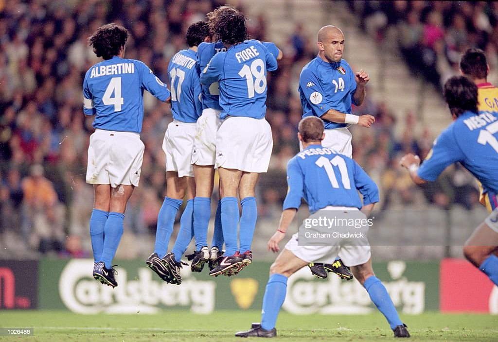 Italian wall defend a Free-Kick during the European Championships 2000 Quarter Final match against Romania at King Baudouin Stadium, Brussels, Belgium. Italy won 2-0. \ Mandatory Credit: Graham Chadwick /Allsport