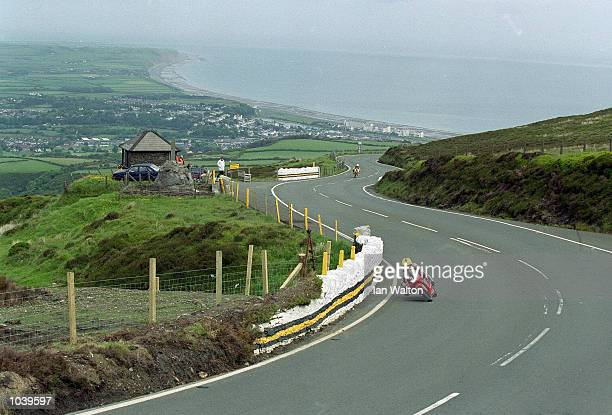 Joey Dunlop takes the bend at Guthries during the Isle of Man TT Races on the Isle of Man Great Britain Mandatory Credit Ian Walton /Allsport