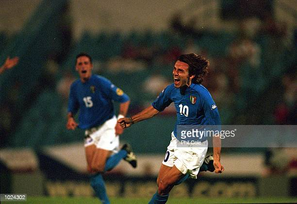 Joy for Andrea Pirlo of Italy during the European Championships Under 21 Final against Czech Republic at the Slovan Stadium Bratislava Slovakia Italy...
