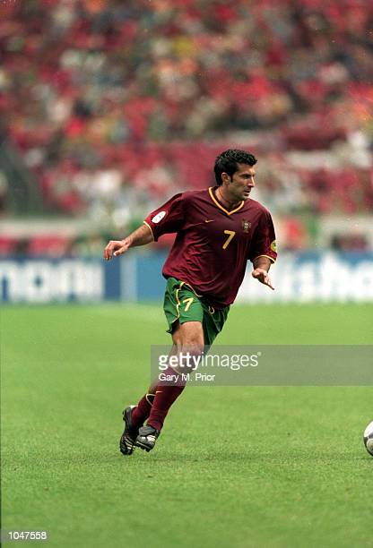 Luis Figo of Portugal in action during the European Championships 2000 Quarter Finals match against Turkey at the Amsterdam ArenA, Amsterdam,...