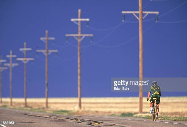 Mark Patten rides down the road during Day 6 of the Race Across America between Walsenberg Colorado and Guyman OaklahomaMandatory Credit Brian Bahr...