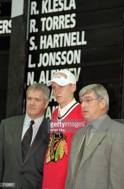 Mikhail Yakubov of the Chicago Blackhawks poses during the NHL Draft Pick 2000 in Calgary Alberta CanadaMandatory Credit Nhan Chu /Allsport