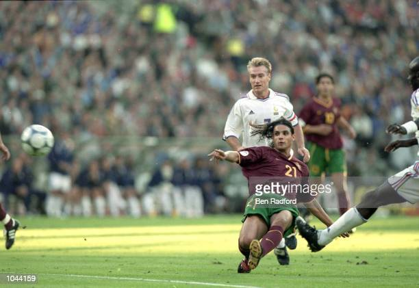 Nuno Gomes scores for Portugal during the European Championships 2000 semifinal against France at the King Baudouin Stadium in Brussels Belgium...