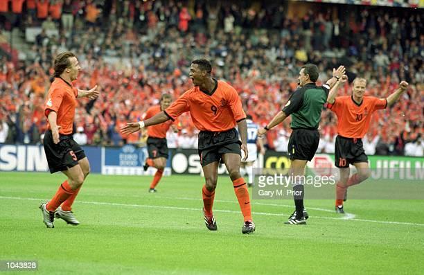 Patrick Kluivert of Holland celebrates during the European Championships 2000 quarter-final against Yugoslavia at the De Kuip Stadium in Rotterdam,...