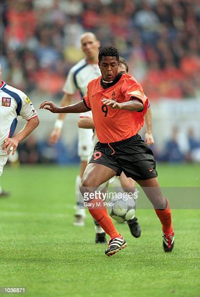 Patrick Kluivert of Holland in action during the European Championships 2000 group match against the Czech Republic at the Amsterdam Arena in...