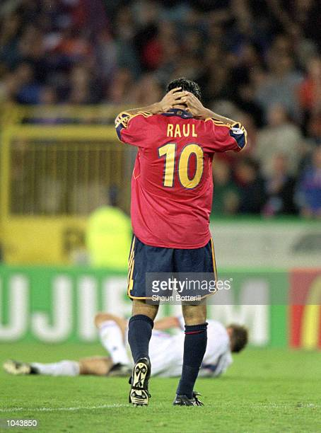 Raul of Spain holds his head after missing a late penalty during the European Championships 2000 quarter-final against France at the Jan Breydal...