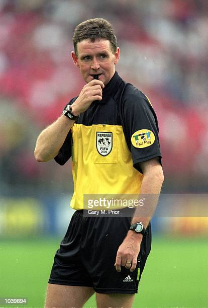 Referee Hugh Dallas blows his whistle during the European Championships 2000 group match between Norway and Yugoslavia at the Sclessin Stadium in...