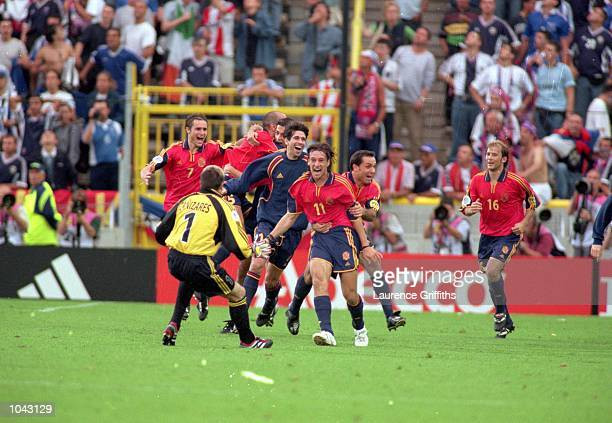 Spain celebrate during the European Championships 2000 group match against Yugoslavia at the Jan Breydal Stadium in Brugge Belgium Spain won the...