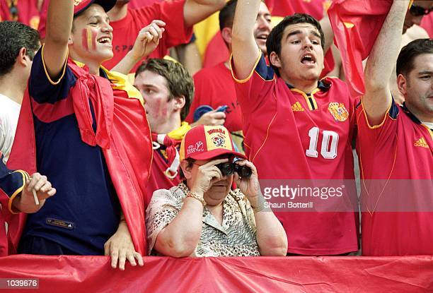 Spanish fans enjoy the action during the European Championships 2000 group match against Slovenia at the Amsterdam ArenA in Amsterdam Holland Spain...