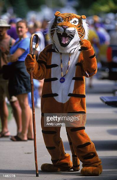 The mascot of the Louisiana State Tigers poses for the camera before the College World Series Game against the Stanford Cardinal at Rosenblatt...
