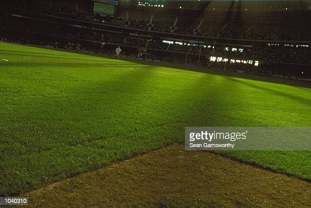 The turf at colonial in the match between the Western Bulldogs and the Adelaide Crows during round 16 of the AFL season played at Colonial Stadium in...