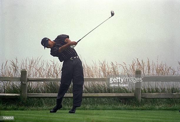 Tiger Woods clips his ball during the 100th U.S. Open at the Pebble Beach Golf Club in Pebble Beach, California.Mandatory Credit: Jamie Squire...