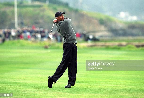 Tiger Woods follows his swing during the 100th US Open at the Pebble Beach Golf Links in Pebble Beach, California.Mandatory Credit: Jamie Squire...