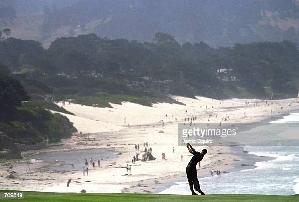 Tiger Woods takes a swing during the 100th U.S. Open at the Pebble Beach Golf Club in Pebble Beach, California.Mandatory Credit: Jamie Squire...