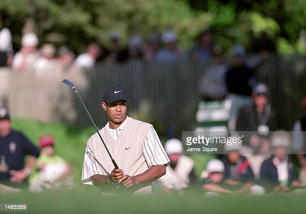 Tiger Woods watches his putt during the 100th US Open at the Pebble Beach Golf Links in Pebble Beach CaliforniaMandatory Credit Jamie Squire /Allsport