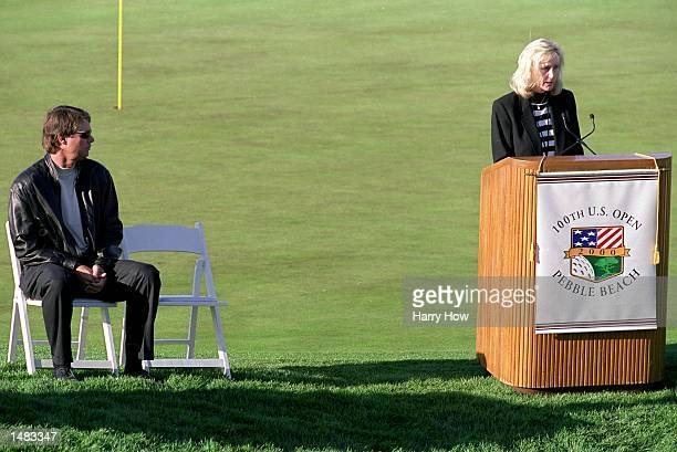 Tracy Stewart wife of the late Payne Stewart speaks during the Payne Stewart Memorial as Paul Azinger looks on before the 100th US Open at the Pebble...