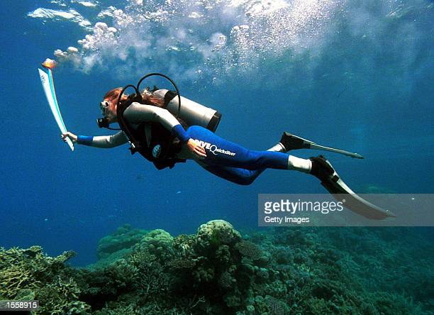 Wendy CraigDuncan a marinebiologist on Australia's Great Barrier Reef carries the Sydney Olympic torch underwater at Agincourt Reef Great Barrier...