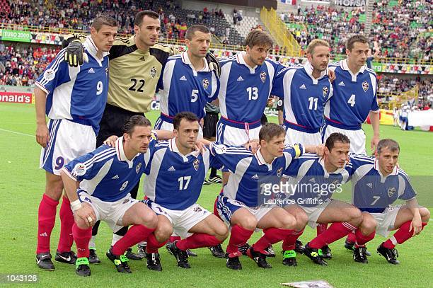 Yugoslavia pose for a team group photograph before the European Championships 2000 group match against Spain at the Jan Breydal Stadium in Brugge,...