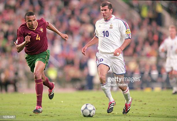 Zinedine Zidane of France in action during the European Championships 2000 Semi Final match against Portugal at the King Baudouin Stadium Brussels...
