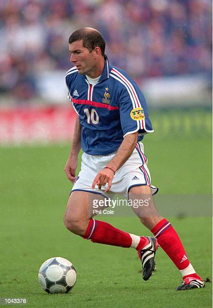 Zinedine Zidane of France in action during the European Championships 2000 group match against Denmark at the Jan Breydal Stadium in Brugge, Belgium....