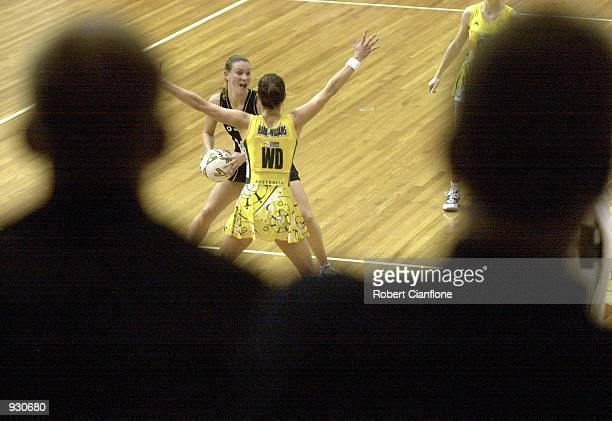 General view of the action, during the match between Australia and the New Zealand Silver Ferns, played at the State Netball Hockey Centre in...