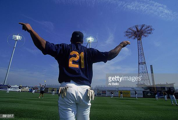 A general view of the first pregame warmups for the Brooklyn Cyclones at their new park adjacent to Coney Island before their first Minor League...