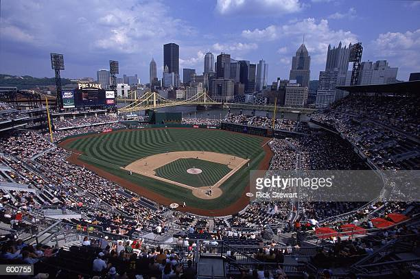 A general view of the game between the Montreal Expos and the Pittsburgh Pirates at PNC Park in Pittsburgh Pennsylvania The Expos defeated the...