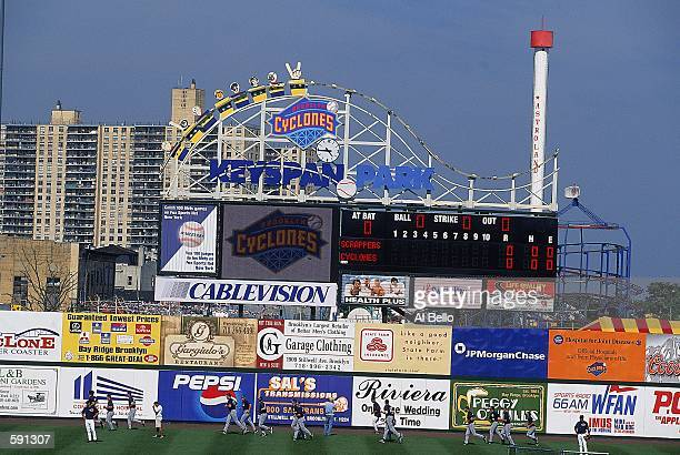 General view of the new Keyspan baseball park scoreboard built adjacent to Coney Island for the Brooklyn Cyclones during the Minor League Class A...