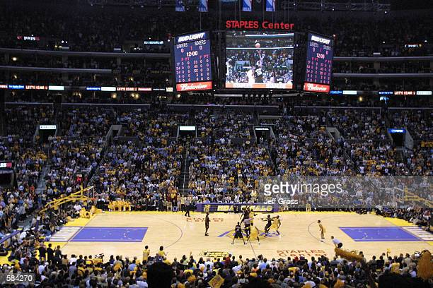 General view of the tip-off between the Los Angeles Lakers and the Philadelphia 76ers to start Game two of the NBA Finals at Staples Center in Los...