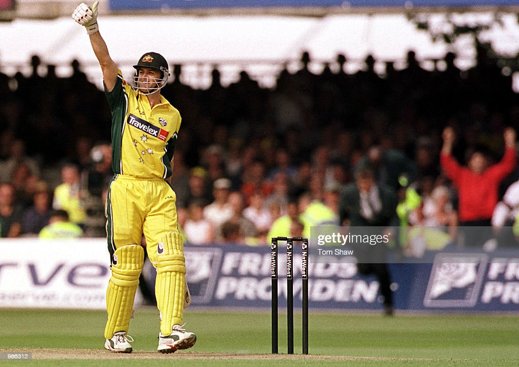 Adam Gilchrist of Australia celebrates as he strikes the winning runs to claim the Natwest Triangular Series Final between Australia and Pakistan played at Lord's Cricket Ground, London. Mandatory Credit: Tom Shaw/ALLSPORT