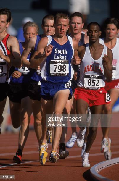Alan Webb leads the pack for the Men's 1,500 meter Running Event during the USA Track and Field Championships at Hayward Field in Eugene,...
