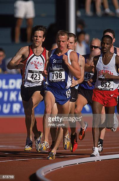 Alan Webb pulls ahead after a turn for the Men's 1,500 meter Running Event during the USA Track and Field Championships at Hayward Field in Eugene,...