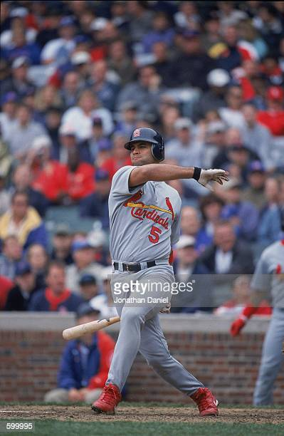 Albert Pujols of the St Louis Cardinals at bat during the game against the Chicago Cubs at Wrigley Field in Chicago Illinois The Cubs defeated the...