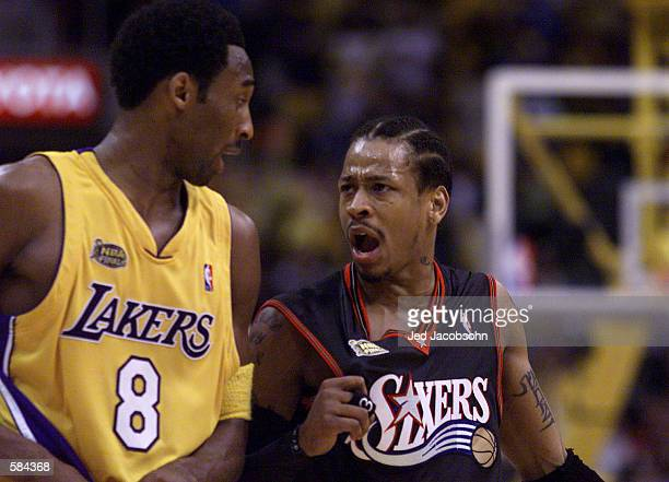 Allen Iverson of the Philadelphia 76ers argues with Kobe Bryant of the Los Angeles Lakers during Game 2 of the NBA Finals at the Staples Center in...