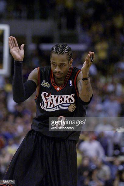 Allen Iverson of the Philadelphia 76ers celebrates in game one of the NBA Finals against the Los Angeles Lakers at Staples Center in Los Angeles,...