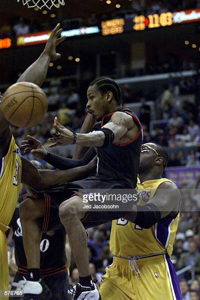 Allen Iverson of the Philadelphia 76ers in action during game two of the NBA Finals against the Los Angeles Lakers at Staples Center in Los Angeles...