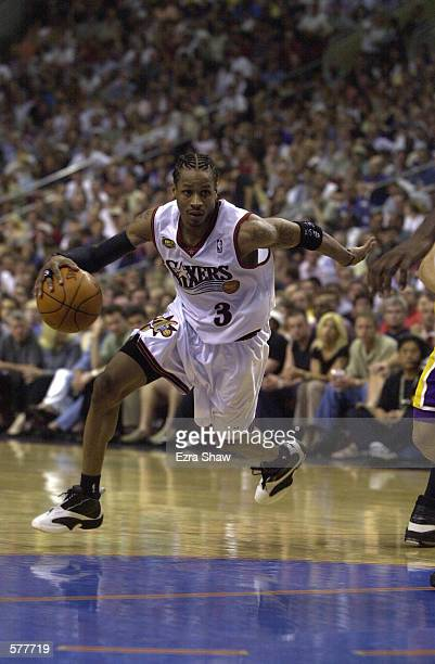 Allen Iverson of the Philadephia 76ers drives to the basket against the Los Angeles Lakers in game four of the NBA Finals at the First Union Center...