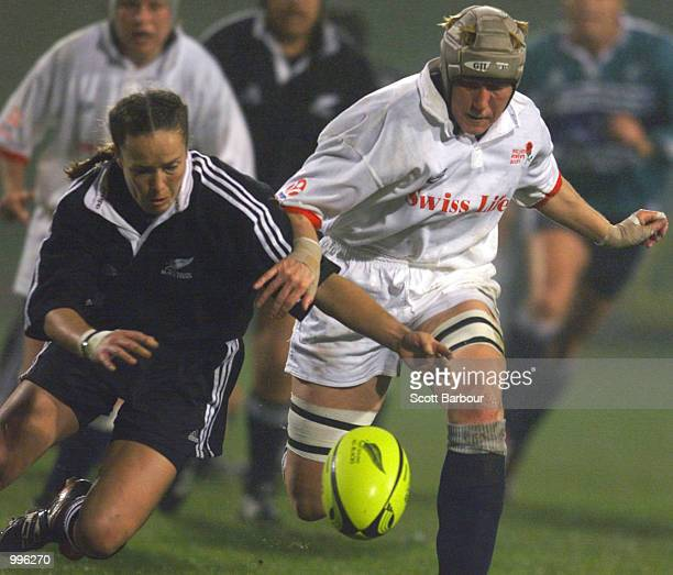 Anna Richards of New Zealand and Jenny Phillips of England compete for the ball during the New Zealand Black Ferns v England womens rugby...
