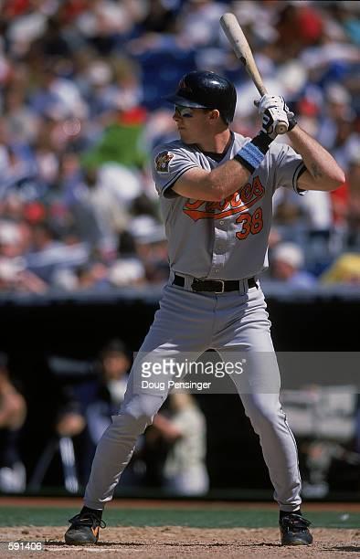 Chris Richard of the Baltomore Orioles at bat during the game against the Philadelphia Phillies at Veterans Stadium in Philadelphia, Pennsylvania....