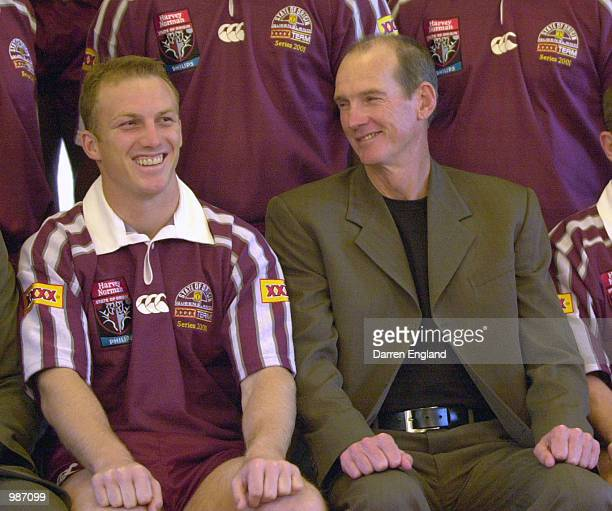 Darren Lockyer and Wayne Bennett of the Queensland State of Origin team get ready for a team photo at the Gwinganna Resort on the Gold Coast,...