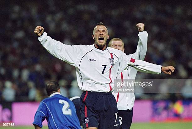 David Beckham of England celebrates scoring the second goal of the match with a brilliant freekick during the World Cup 2002 Group Nine Qualification...