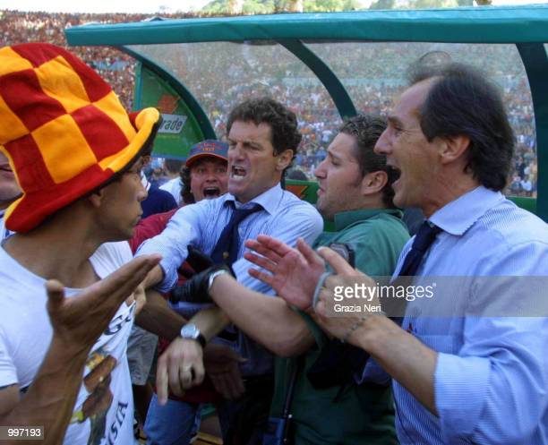 Fabio Capello argues with Roma fans after they invade the pitch minutes before the end of the Serie A 34th Round League match played between Roma and...