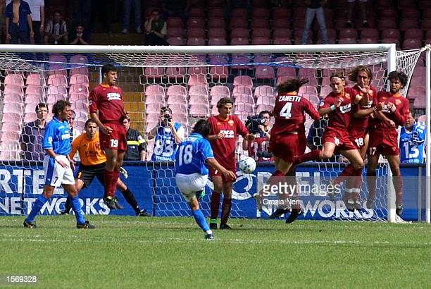 Fabio Pecchia of Napoli scores the equalizing goal during the Serie A 33rd Round League match between Napoli and Roma played at the San Paolo Stadium...