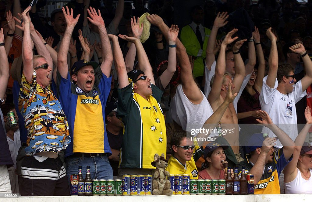 Fans celebrate as Australia bat towards victory, during the One Day International Final between Australia and Pakistan played at Lords, London, England. DIGITAL IMAGE Mandatory Credit: Hamish Blair/ALLSPORT