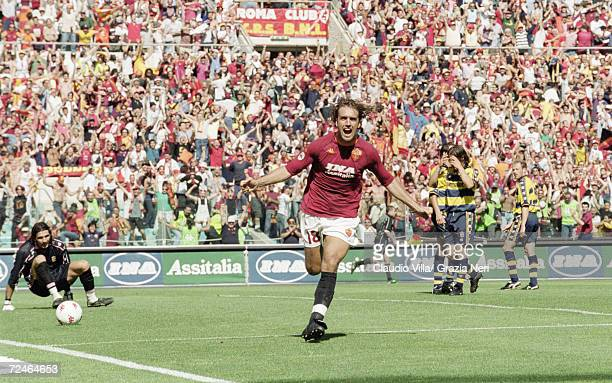 Gabriel Batistuta of Roma celebrates his goal against Parma during the Serie A match at the Stadio Olimpico in Rome Roma won 31 to take the Scudetto...
